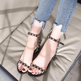 Ericdress PU Rivet Line-Style Buckle Chunky Sandals