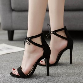 Ericdress Plain Lace-Up Heel Covering Stiletto Sandals