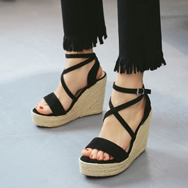 Ericdress Platform Buckle Strappy Wedge Heel Espadrille Sandals