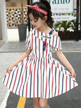 Ericdress Vertical Stripe Letter Color Block Girl's Summer Dress