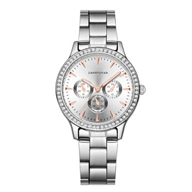 Ericdress JYY Diamante Three Plate Steel Belt Lady Watch