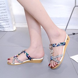 Ericdress Rhinestone Woven Patchwork T-Straps Mules Shoes