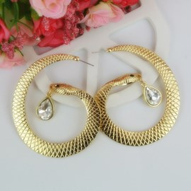 Ericdress Snake Diamante Drop Earrings