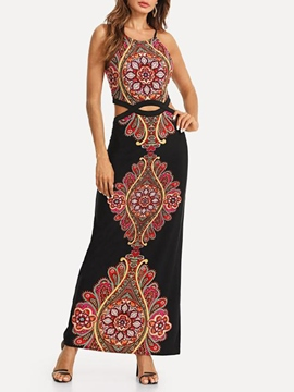 Ericdress Print Sleeveless Ankle-Length Women's Dress