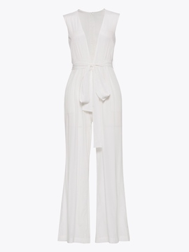 Ericdress Lace-Up Wide Leg Women's White Jumpsuit