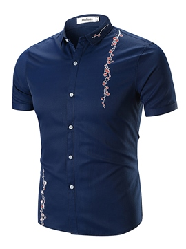 Men's Clothing Tops Floral Printed Slim Short Sleeve T Shirt