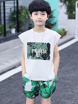 Ericdress Plant Letter Printed T Shirt Shorts Boy's Outfits