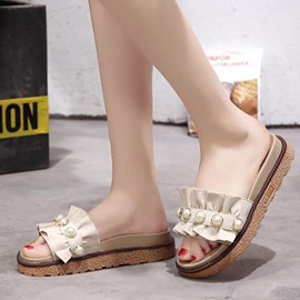 Ericdress Beads Cloth Platform Slip-On Mules Shoes