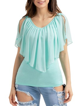 Ericdress Women's Asymmetric Ruffles Tee Shirt