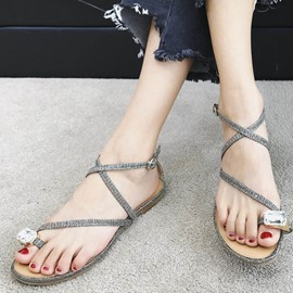 Ericdres Sequin Strappy Slip-On Toe Ring Flat Sandals
