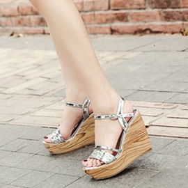 Ericdress Sequin Platform Ankle Strap Wedge Sandals