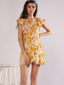 Ericdress Yellow Floral V-Neck Cap Sleeve A-Line Dress