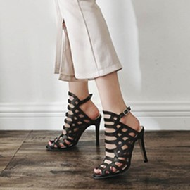 Ericdress Buckle Strappy Peep Toe Stiletto Sandals