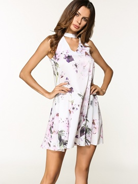 Ericdress Stand Collar Floral Pullover A-Line Dress