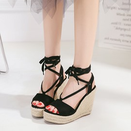 Ericdress Strappy Platform Lace-Up Wedge Sandals