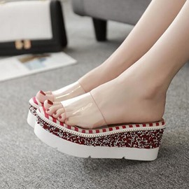 Ericdress Sequin Platform Stripe Wedge Heel Mules Shoes