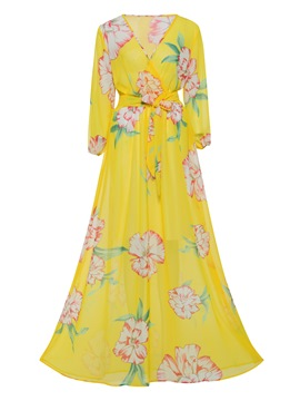 Ericdress Floral V-Neck Lantern Sleeve Maxi Dress