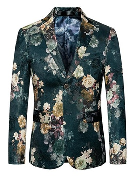 Ericdress Green Floral Print Plus Size Mens Slim Fit Blazer