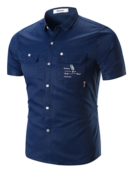 Eicdress Slim Pocket Printed Mens Short Sleeve Shirts