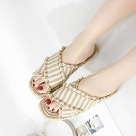 Ericdress Sewing Tassel Stripe Block Heel Mules Shoes