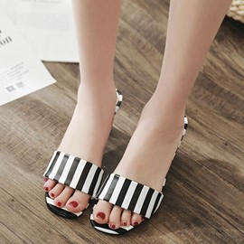 Ericdress Stripe Slip-On Flip Flop Shaped Heel Mules Shoes