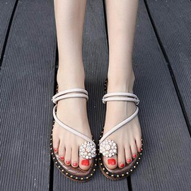 Ericdres Rhinestone Toe Ring Patchwork Flat Sandals with Beads
