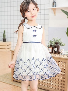Ericdress A-Line Mesh Lace UP Floral Printed Girl's Casual Dress
