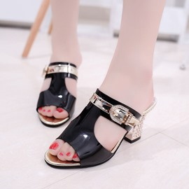 Ericdress Rhinestone Buckle Plain Chunky Heel Mules Shoes
