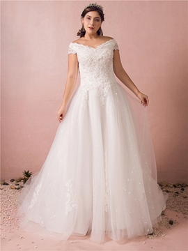 Ericdress Off the Shoulder Tule Plus Size Wedding Dress