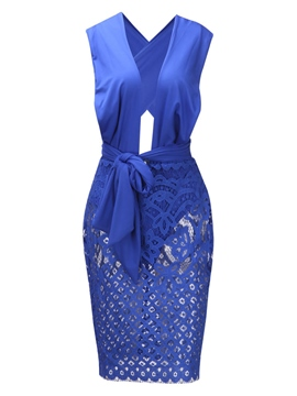 Ericdress Blue V-Neck Lace Patchwork Bodycon Dress