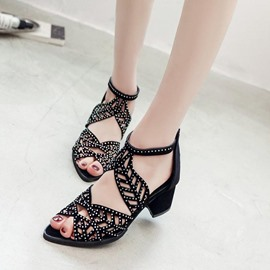 Ericdress Rhinestone Zipper Peep Toe Chunky Sandals