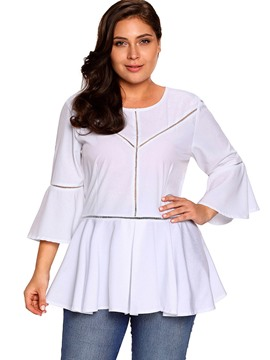 Ericdress Women's Plus-Size Peplum Plain Tee