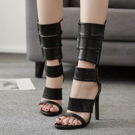 Ericdress Plain High Shaft Heel Covering Stiletto Sandals
