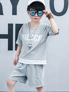 Ericdress Letter Print Stripe Boy's Summer Sports Outfits