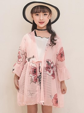 Ericdress Lace Up Floral Printed Flare Sleeve Girl's Thin Outerwears