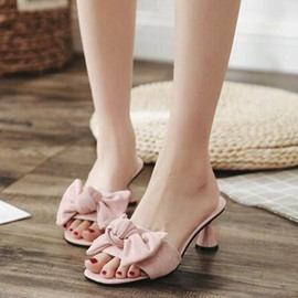 Ericdress Bowknot Slip-On Shaped Heel Mules Shoes