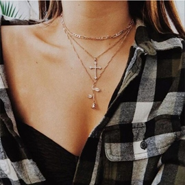 Ericdress Cross&Rose Chain Necklace