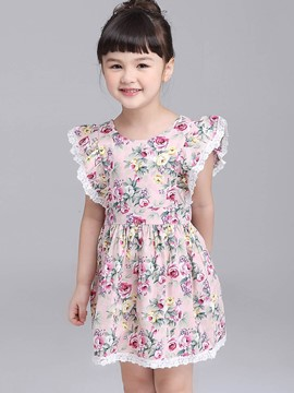 Ericdress Floral Print Pleated Backless Cap Sleeve Girl's Dress