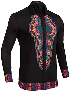Ericdress Dashiki Lapel Print African Style Men's T-shirt
