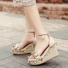 Ericdress Rhinestone Platform Line-Style Buckle Wedge Sandals