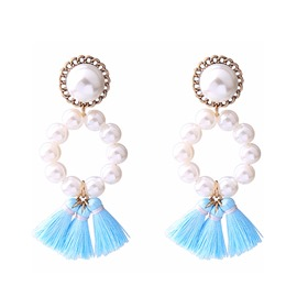 Ericdress Pearl Tassels Drop Earring