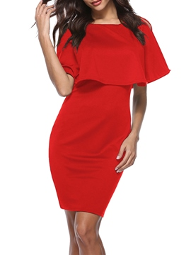 Ericdress Scoop Above Knee Pullover Bodycon Dress