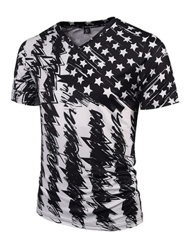 Ericdress V-Neck Amrican Flag Printed Mens Black T Shirt