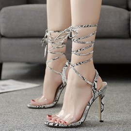 Ericdress Serpentine Ankle Strap Open Toe Stiletto Sandals