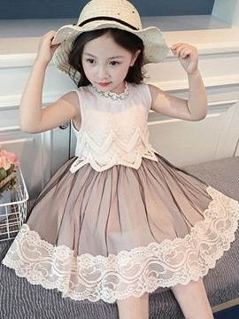 Ericdress Mesh Color Block A-Line Girl's Beige Sleeveless Dress