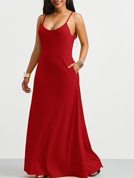 Ericdress Burgundy Spaghetti Strap Backless Pocket Maxi Dress
