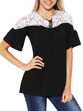 Ericdress Women's Lace Color Block Tee Shirt