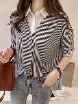 Ericdress Women's Double-Layer Stripe Patchwork Blouse