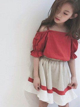 Ericdress Plain T Shirt Color Block Skirt Girl's Casual Outfits
