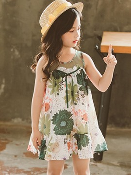 Ericdress Mesh Floral Print A-Line Girl's Beach Green Casual Dress